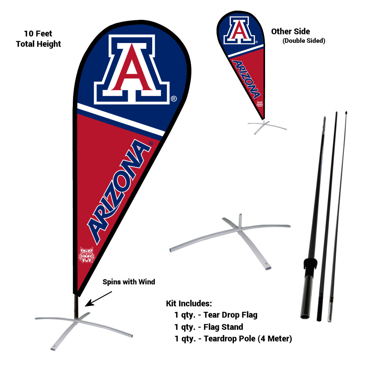 University of Arizona Wildcats Teardrop Flag Pole and Stand Kit
