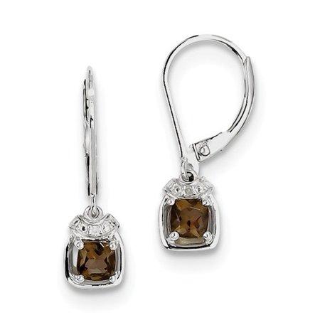 Lime Quartz Diamond Earrings (Sterling Silver 0.8IN Long Diamond & Smoky Quartz Earrings )