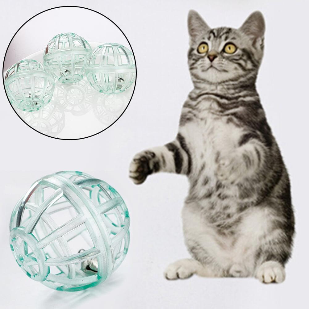 Girl12Queen 10Pcs Pet Cat Kitten Funny Transparent Ball Play Toy Teaser Interactive Bell Set