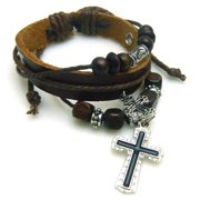 Christian Religious Scripture Inspirational Cross Leather Bracelet