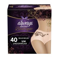 Always Discreet Boutique Max Incontinence Underwear, Small/Med, 40 ct