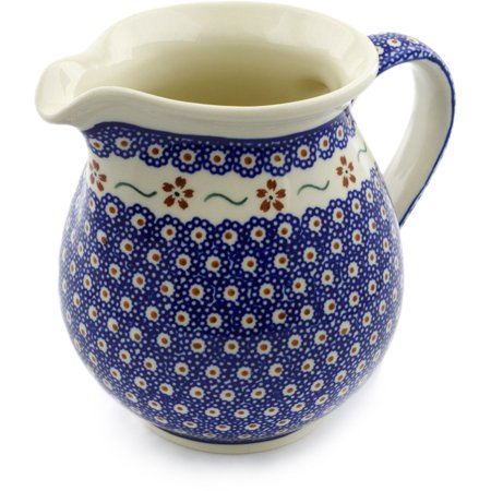 Polish Pottery 56 oz Pitcher (Sweet Red Flower Theme) Hand Painted in Boleslawiec, Poland + Certificate of Authenticity