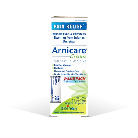 - Boiron Arnicare Pain Relief Cream, 2.5 Oz, Value Pack with Arnica montana 30C Tube