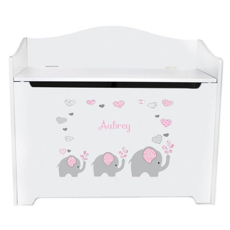 Personalized Pink Elephant Toy Box Bench -