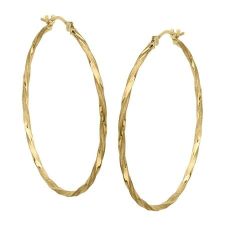 Twisted Hoop Earrings in 14kt Gold