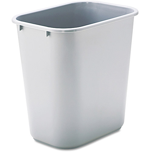 Rubbermaid Commercial Rectangular Gray Soft Molded Plastic Wastebasket, 7 gal
