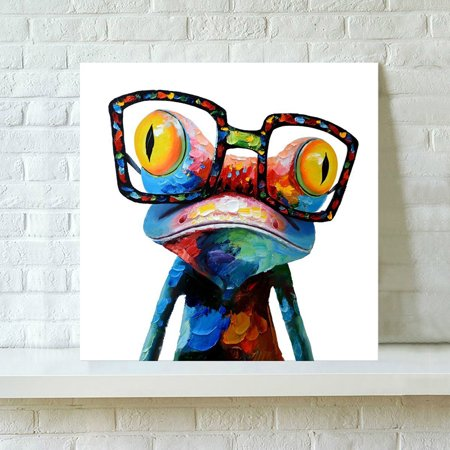 Colorful Frog Pattern Modern Canvas Wall Art Oil Painting Unframed Home - Frog Home Decor