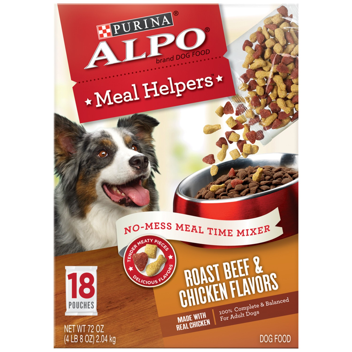 Purina ALPO Meal Helpers Roast Beef & Chicken Flavors Dog Food 18 ct Box