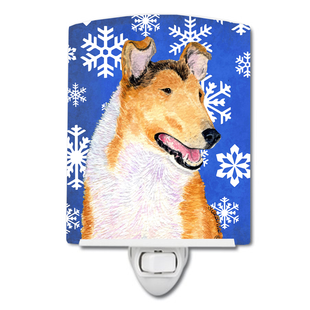 Collie Smooth Winter Snowflakes Holiday Ceramic Night Light SS4608CNL by Caroline's Treasures