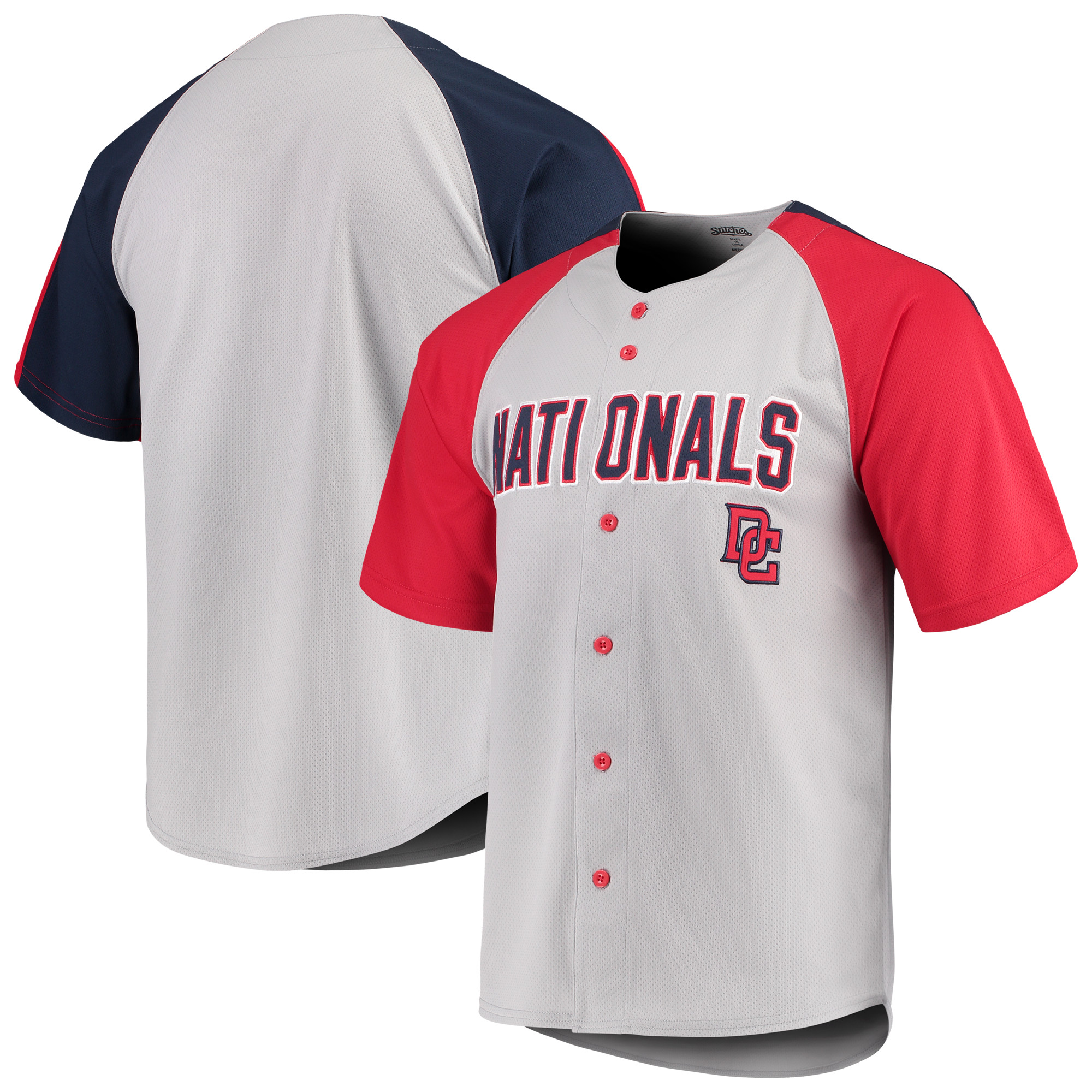 Washington Nationals Stitches Lightweight Mesh Jersey - Gray/Red