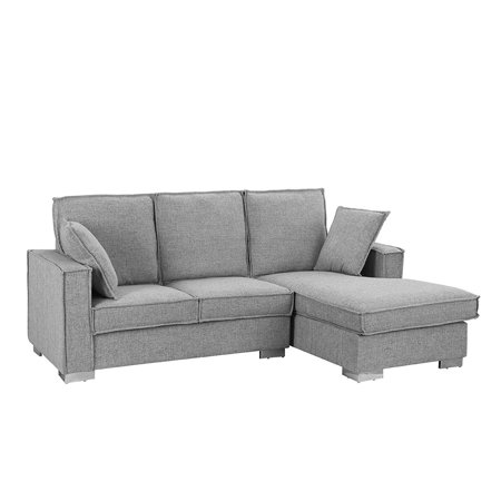 Classic Linen Fabric Sectional Sofa, Small Space L Shape Couch with Chaise  (Light Grey)