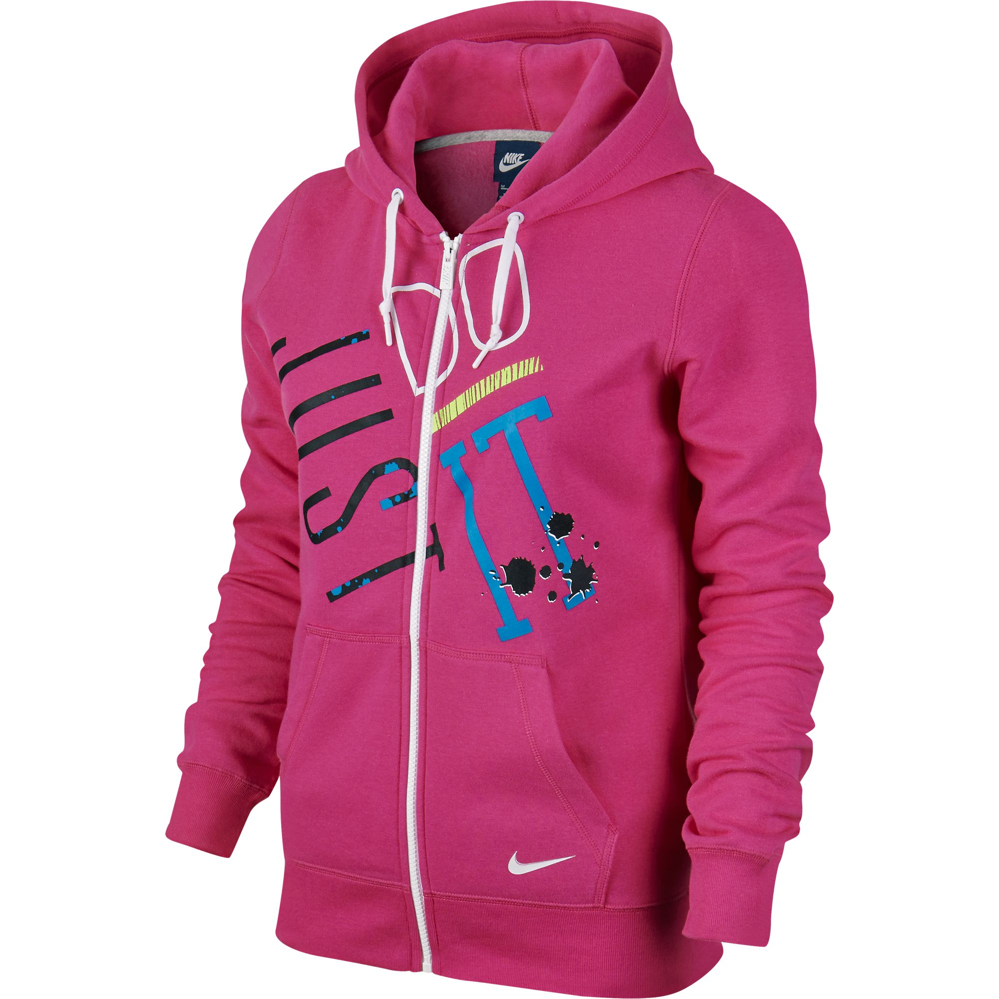 nike womens just do it full zip hoodie pinkblackblue