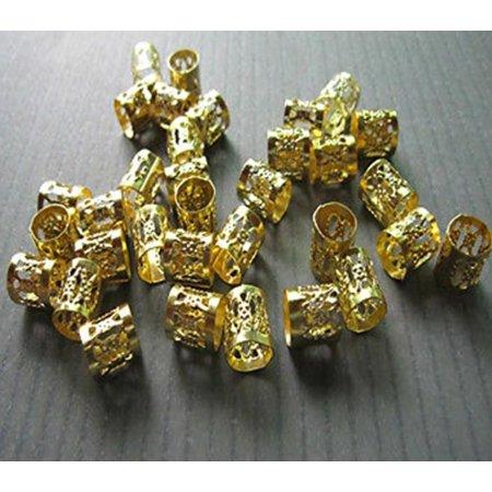 Dread Lock Dreadlocks Braiding Beads Golden Metal Cuffs Hair Accesories Decoration Filigree Tube 6mm 12pcs Pack, 6mm Diameter size By ALINCAS,USA (Dreadlock Size Chart)