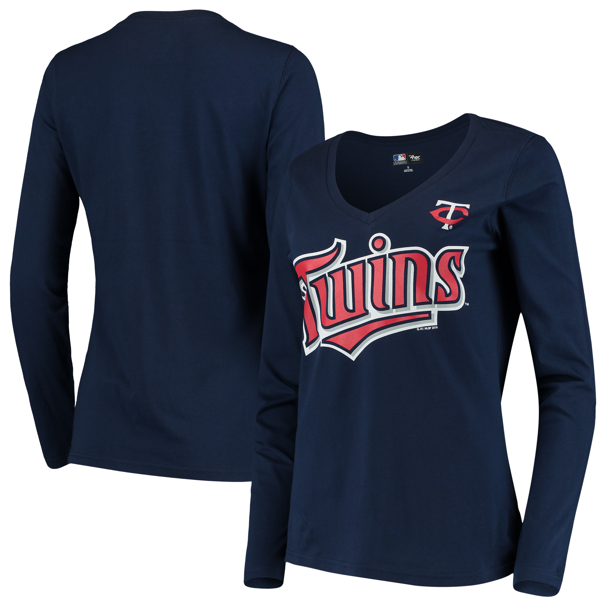Minnesota Twins G-III 4Her by Carl Banks Women's Post Season Long Sleeve T-Shirt - Navy
