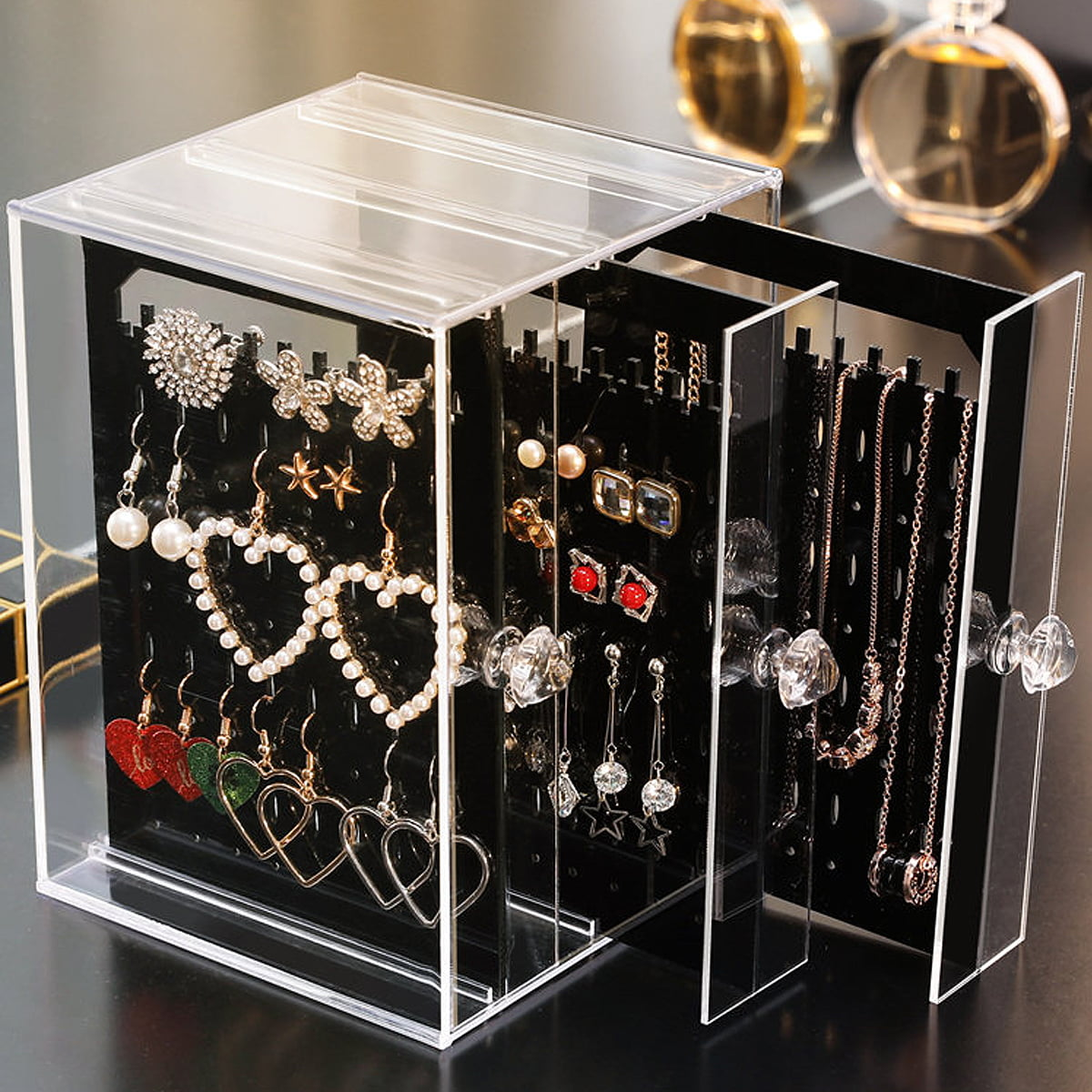 Acrylic Transparent Jewelry Boxes Organizers Earrings Display Stand Storage Box Drawers Design Earrings Jewelry Organizer For Home Living Room Bedroom Walmart Com Walmart Com