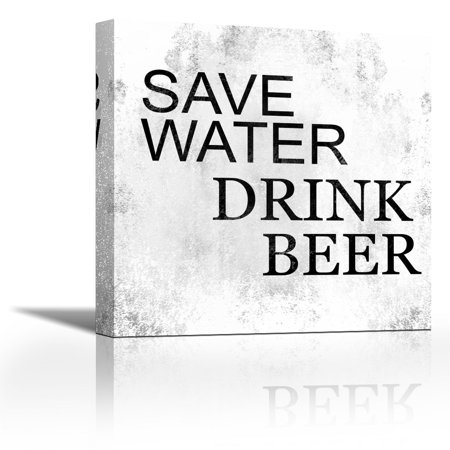 Save Water Drink Beer Contemporary Fine Art Giclee On Canvas Gallery Wrap Wall Decor Art Painting 28 X 28 Inch Ready To Hang