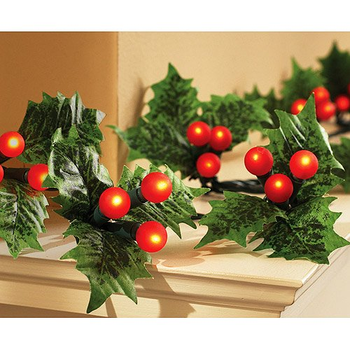 holiday time holly berry and leaf light set 60 count walmartcom