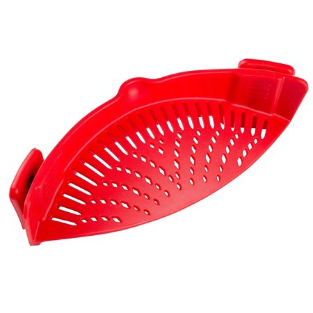 Clip On Silicone Strainer  Colander   Drainer Compact   Flexible Bpa Free Universal Fits All Pots  Pans   Bowls  Red