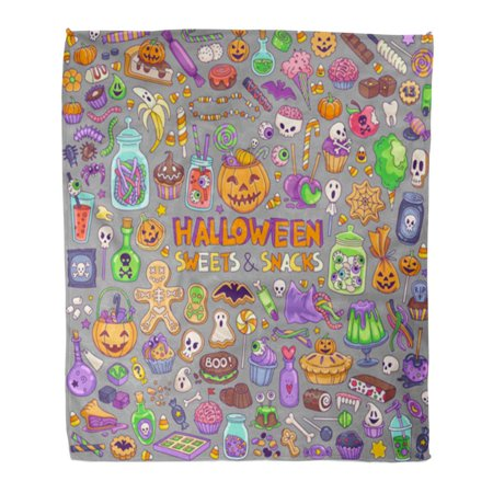 SIDONKU Throw Blanket Warm Cozy Print Flannel Halloween Candies Sweets Snacks and Drinks for Trick Treating Kids Party Comfortable Soft for Bed Sofa and Couch 58x80 Inches](Halloween Snack And Drink Ideas)