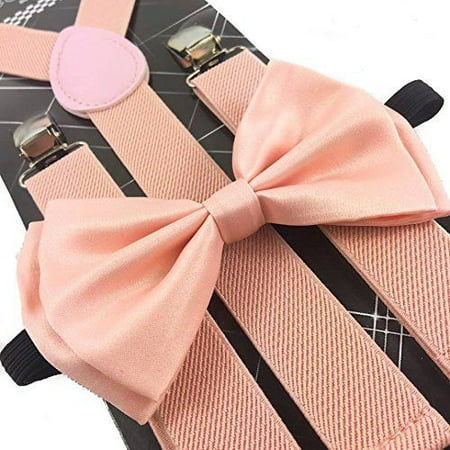 Blush Pink Peach Wedding Suspender and Bow Tie Set Wedding Prom Suspenders (Pink Bow Tie And Suspenders)