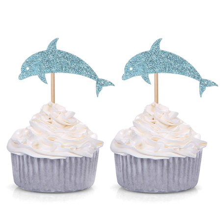 24 Blue Glitter Dolphin Cupcake Toppers Baby Shower Birthday Under the Sea Theme Party Decorations](Under The Sea Baby Shower Theme)