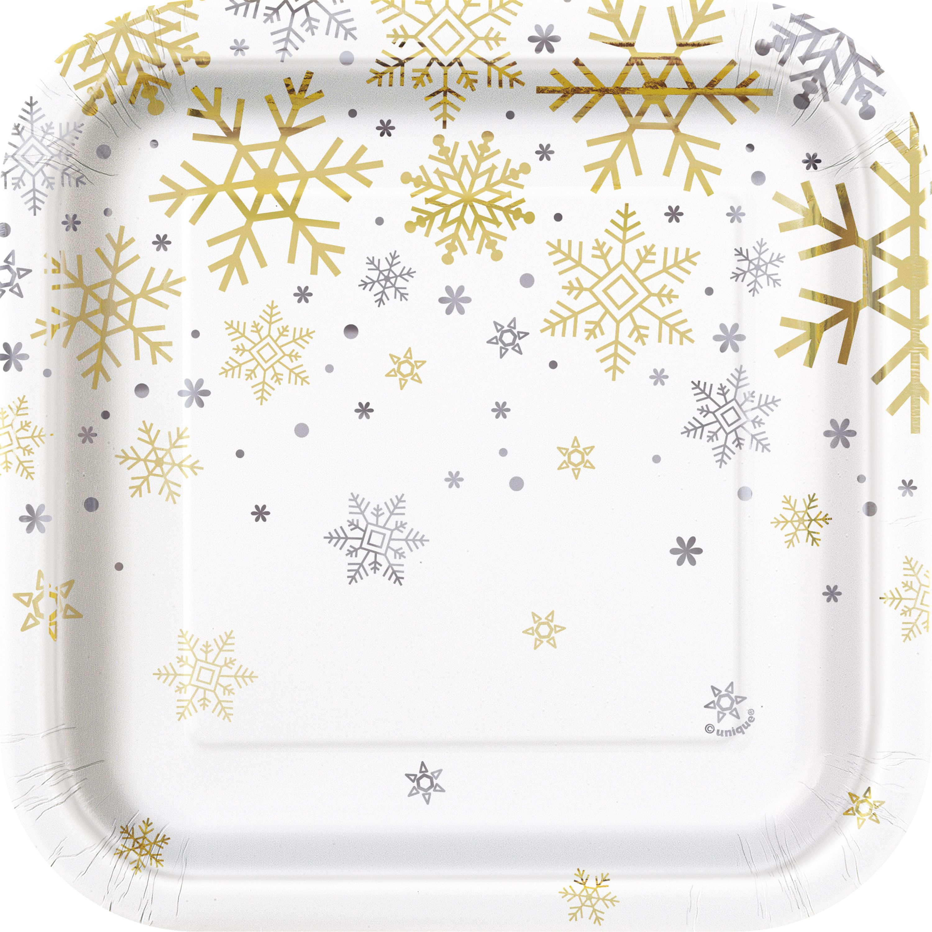 Square Silver & Gold Snowflakes Holiday Paper Plates, 7 in, Foil, 8ct