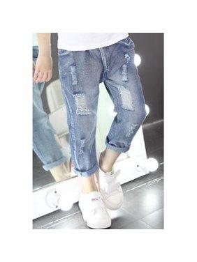 Kids Girls Shredded Slim Fit Stylish Jeans