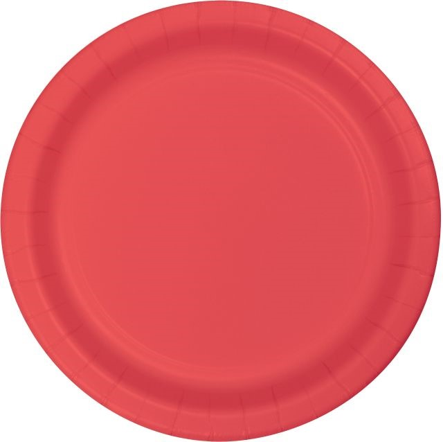 "Touch of Color Lunch Plate, 7"", Coral, 24 Ct"