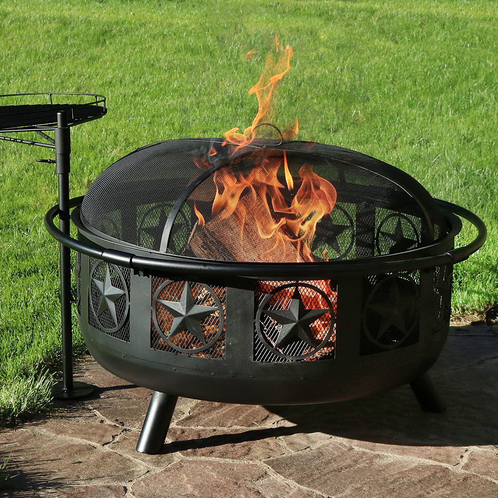 Sunnydaze Large All Star Firepit Bowl with BBQ Cooking Grate and Spark Screen, Outdoor... by Sunnydaze Decor