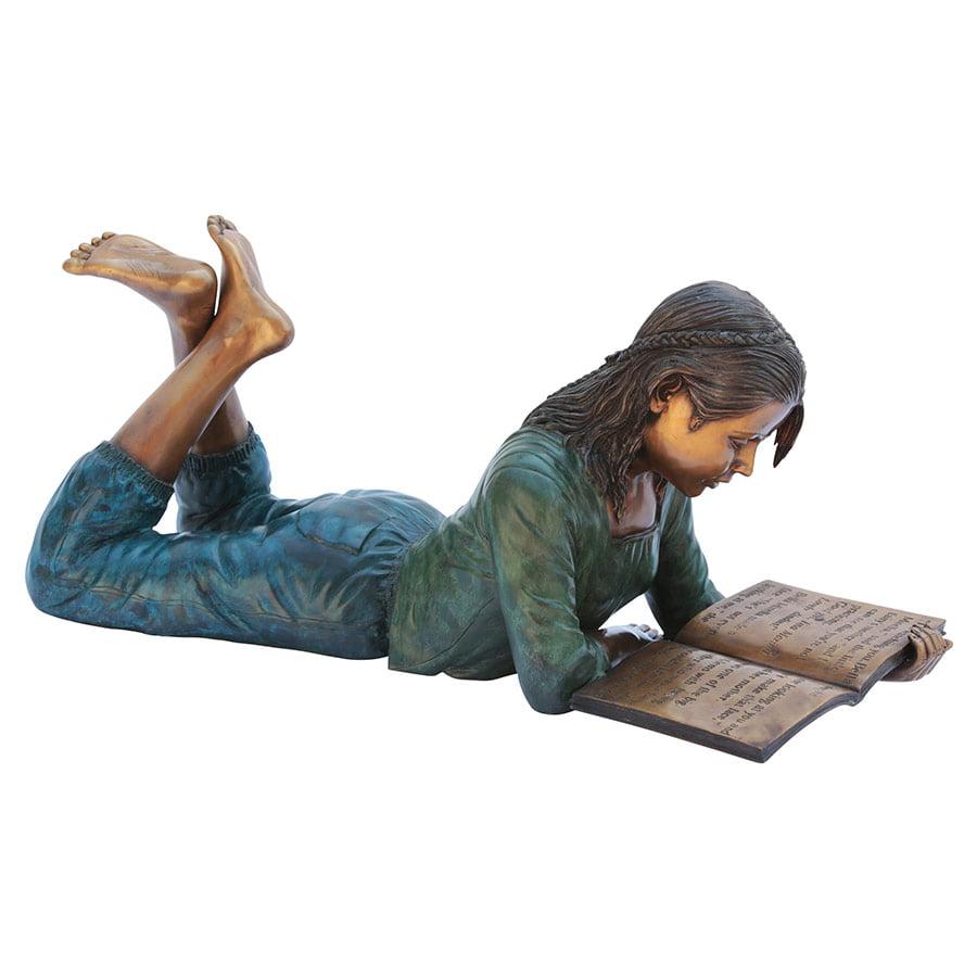 Young Scholar Reading Girl Bronze Garden Statue