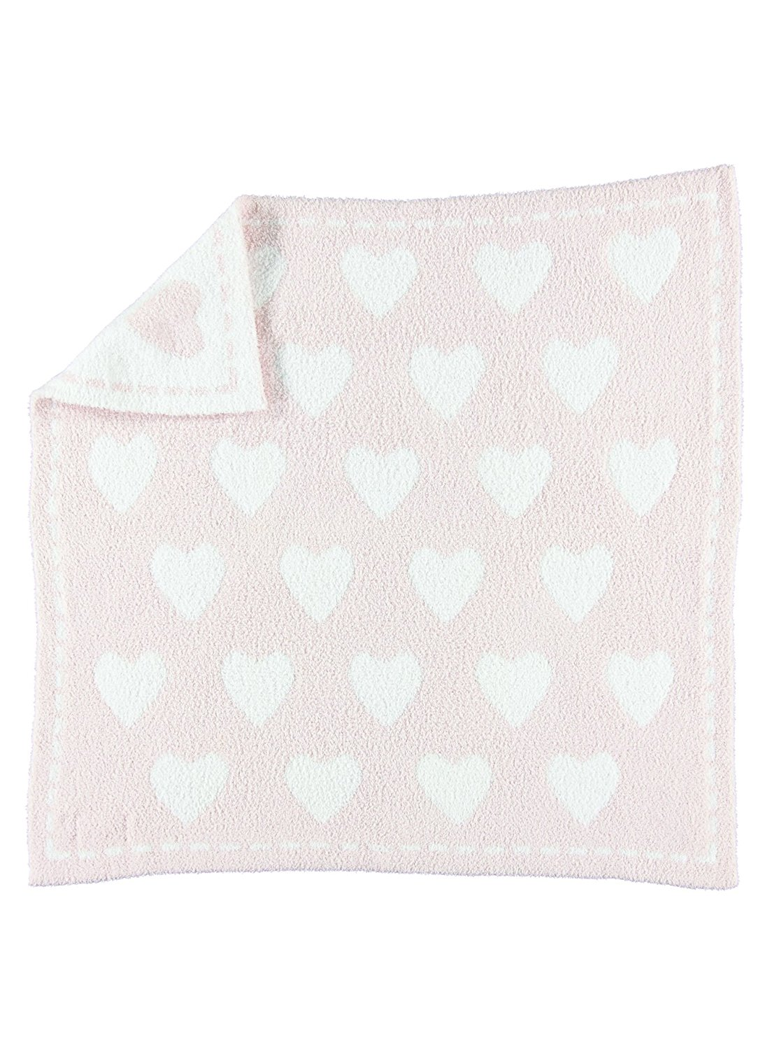 Barefoot Dreams CozyChic Dream Receiving Blanket Pink White Hearts by Barefoot Dreams