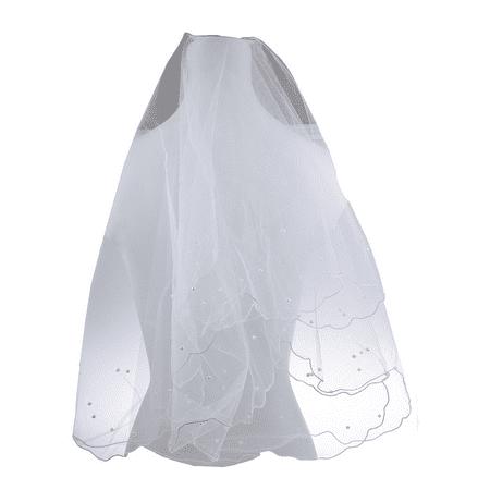 Lux Accessories Bride Bridal Wedding Pearl Beaded Veil