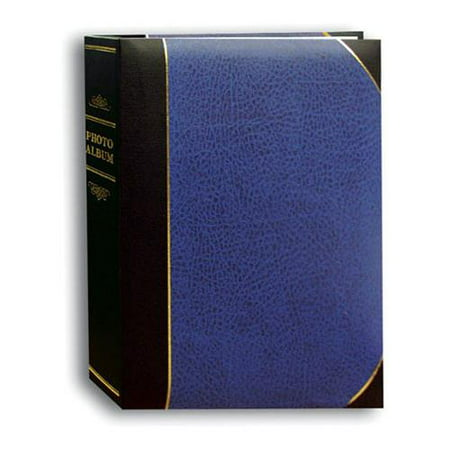 Le Memo Album - Mini Ledger Le' Memo Bound Photo Album, Solid Navy Blue Color Covers with Gold Accents, Holds 50 5x7