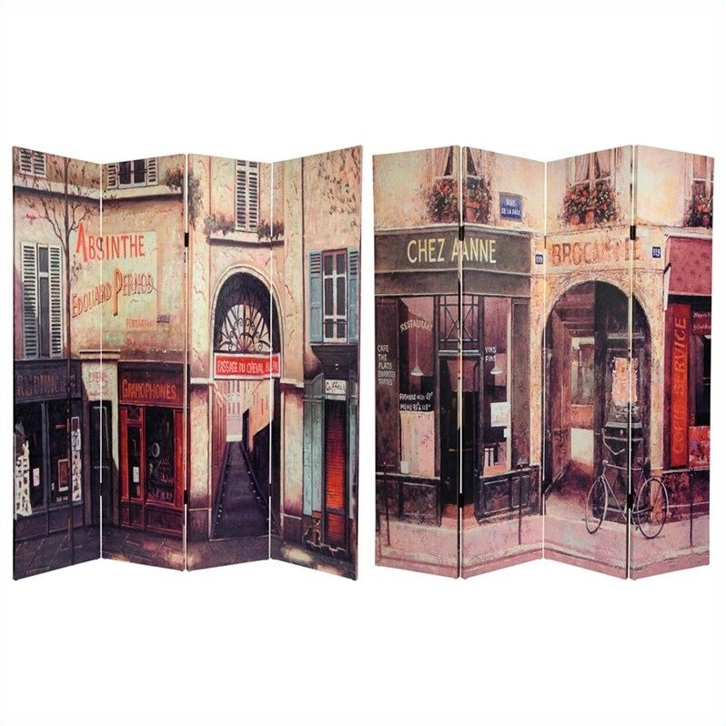 Oriental French Cafe Canvas Room Divider