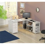 """29.5"""" White Melamine and Engineered Wood L-Shaped Computer Desk"""
