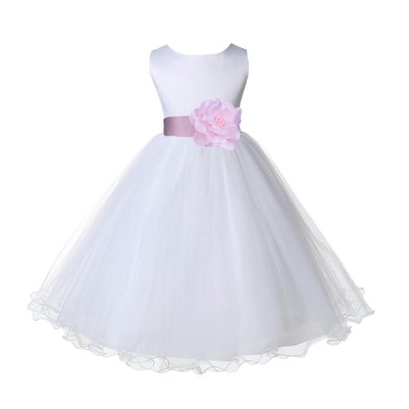Baby Holiday Dresses (Wedding Pageant White Flower Girl Dress Tulle Rattail Edge Toddler Junior Bridesmaid Recital Easter Dress Holiday First Communion Birthday Girls Clothing Baptism Baby Pink 829S)
