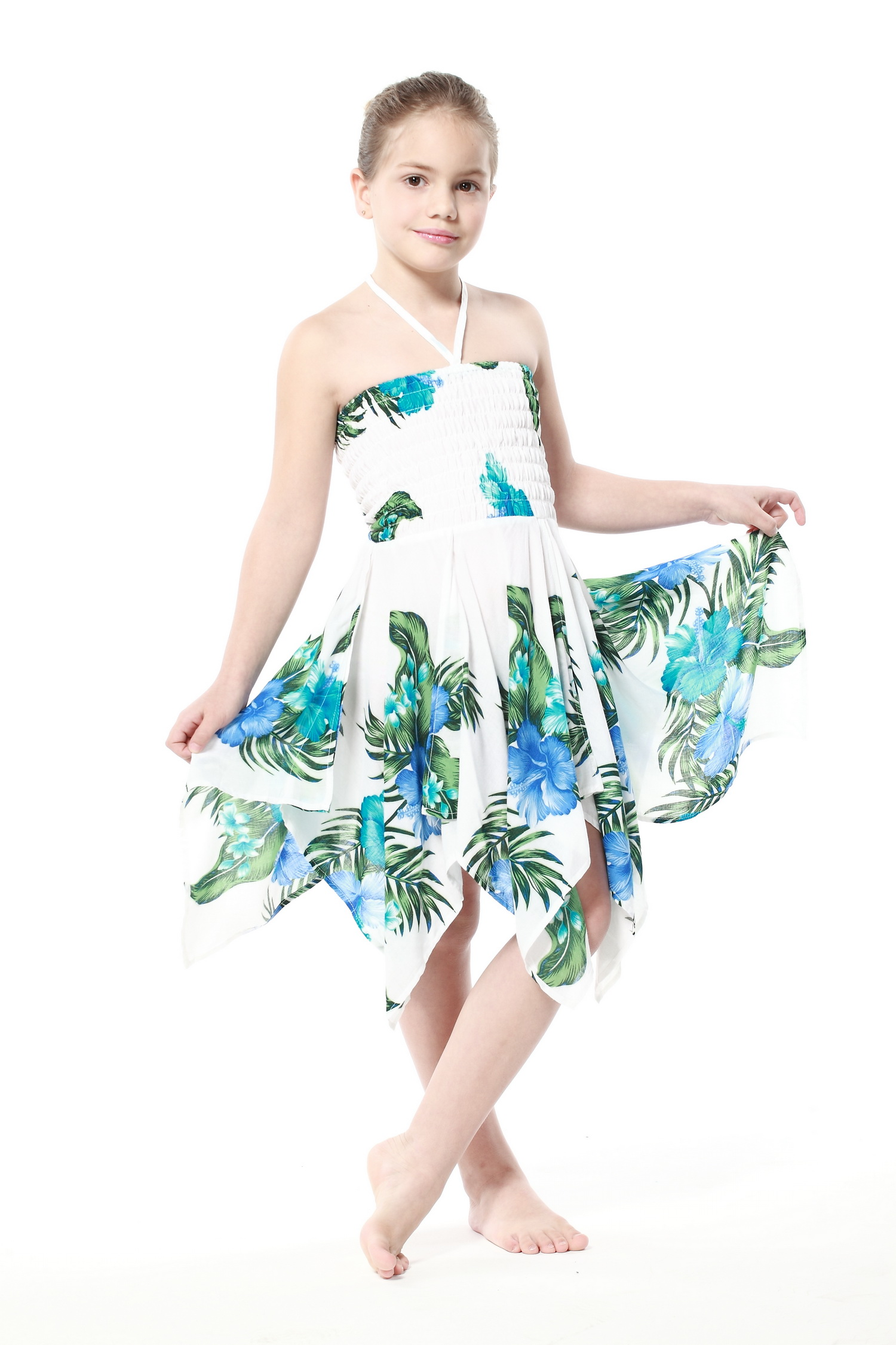Girl Gypsy Uneven Button Hawaiian Luau Dress in White with Blue ...