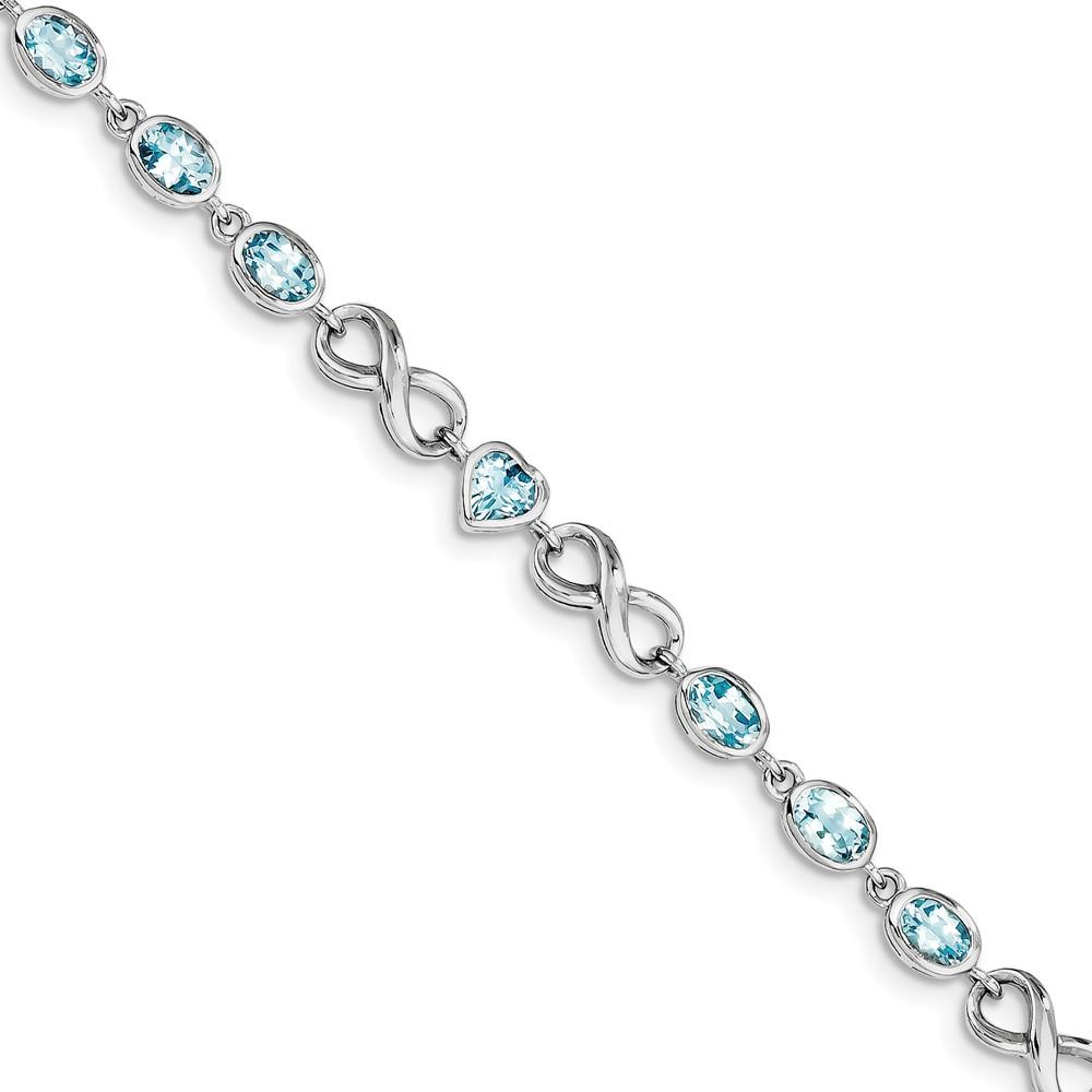 Sterling Silver Oval Heart Blue Topaz Bracelet 5.93 cwt by Jewelryweb