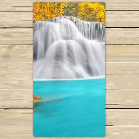 YKCG Fall Red Leaf Trees Wounderful Waterfall Rainbow Hand Towel Beach Towels Bath Shower Towel Bath Wrap For Home Outdoor Travel Use 30x56 inches