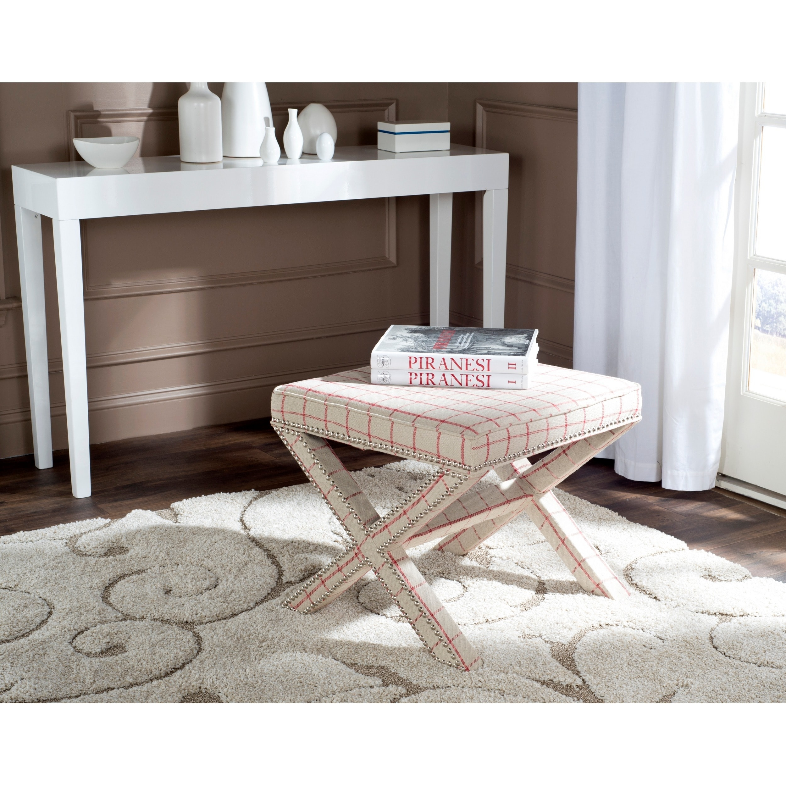 Safavieh  Palmer Taupe/ Red Checkerboard Ottoman