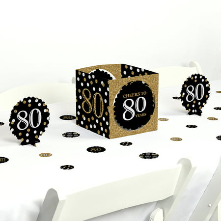 Adult 80th Birthday - Gold - Birthday Party Centerpiece & Table Decoration Kit](80th Birthday Centerpieces Decorations)