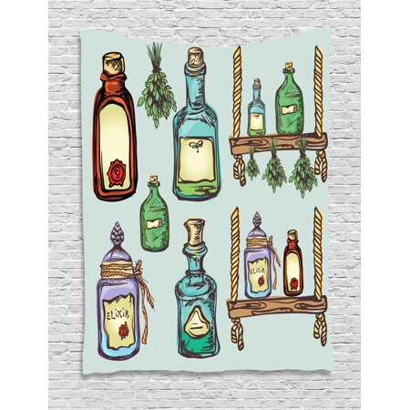 Apothecary Tapestry, Retro Alchemy Magic Craft Elixir Herbal Cure Chemists Halloween Recreation Theme, Wall Hanging for Bedroom Living Room Dorm Decor, 40W X 60L Inches, Multicolor, by Ambesonne](Halloween Crafts For Your Bedroom)