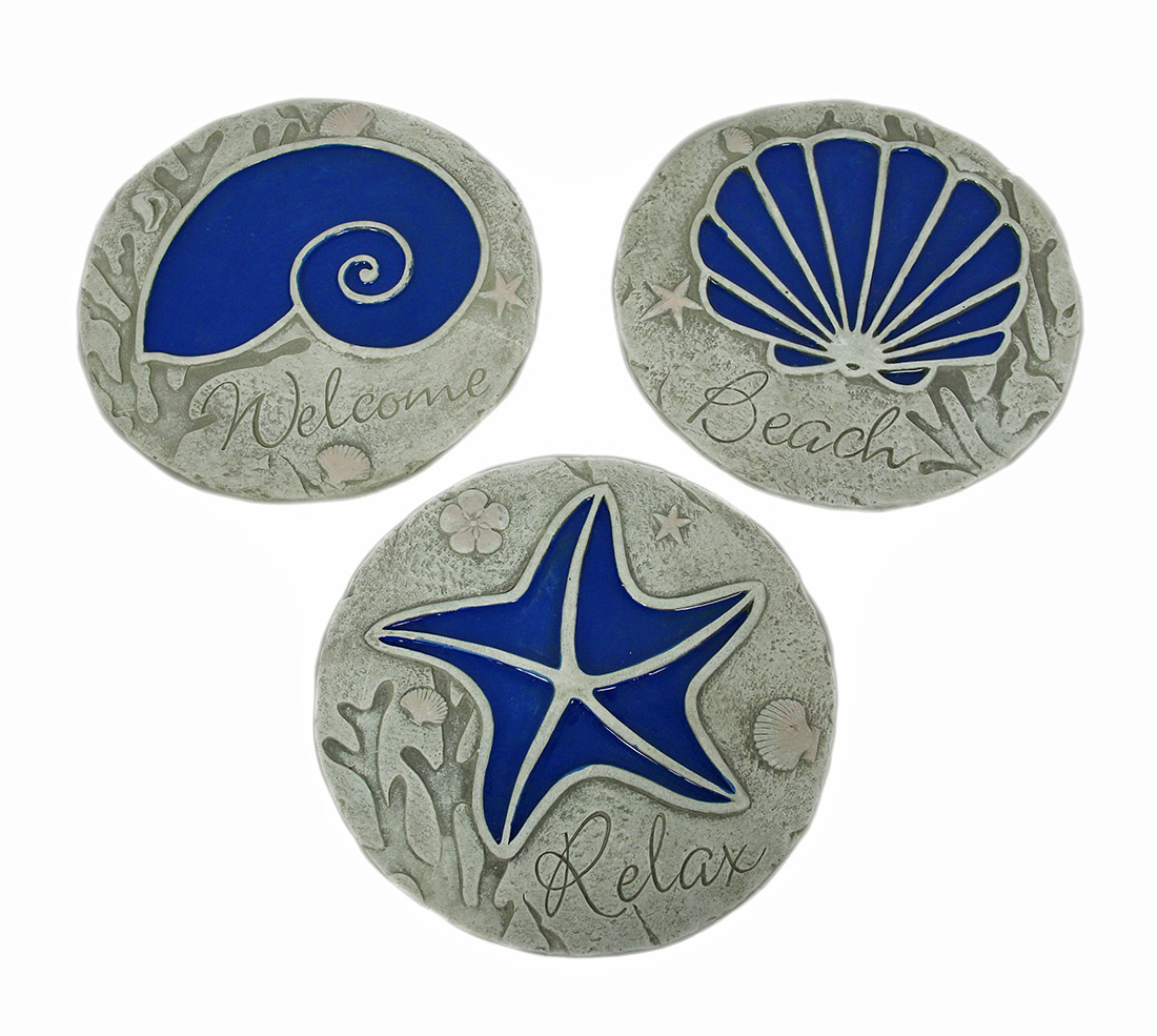 3 Piece Blue Seashell Beach Stepping Stone Wall Hanging Set by J.D. YEATTS IMPORTS
