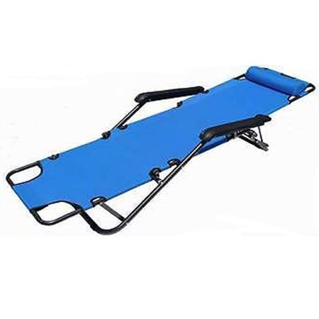 RHC-202 Portable Outdoor Foldable Chaise Lounge Chair Bed Beach Camping Recliner Extendable Folding Reclining Chair Pool Yard Blue ()