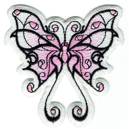 Pink/White - Tribal Butterfly - Iron on Embroidered Applique Patch