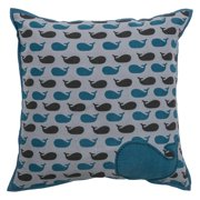 18 Inch X 18 Inch Grey Decorative Pillow With Printed Cotton Applique