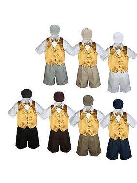 5pc Boy Toddler Formal Gold Yellow Vest Bow Tie Black Khaki Navy Hat Shorts S-4T