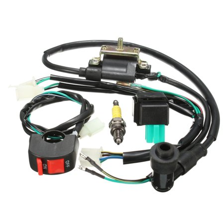 Wiring Loom Light Kill On Off Switch Ignition Coil CDI Box Spark Plug Kit For 110cc 120cc 125cc Motorcycle ATV Dirtbike Pit Dirt Bike -