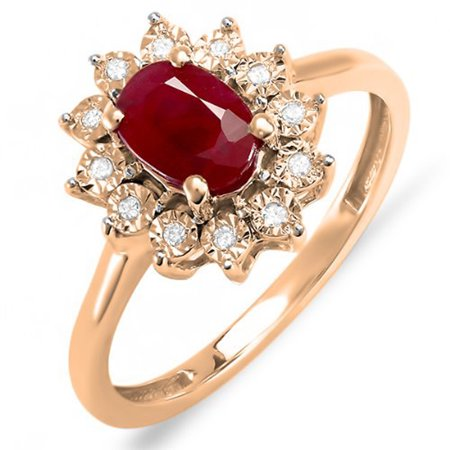 1.10 Carat (ctw) Kate Middleton Diana Inspired 14K Rose Gold Real Round Diamond & Oval Ruby Royal Engagement Ring 1 CT
