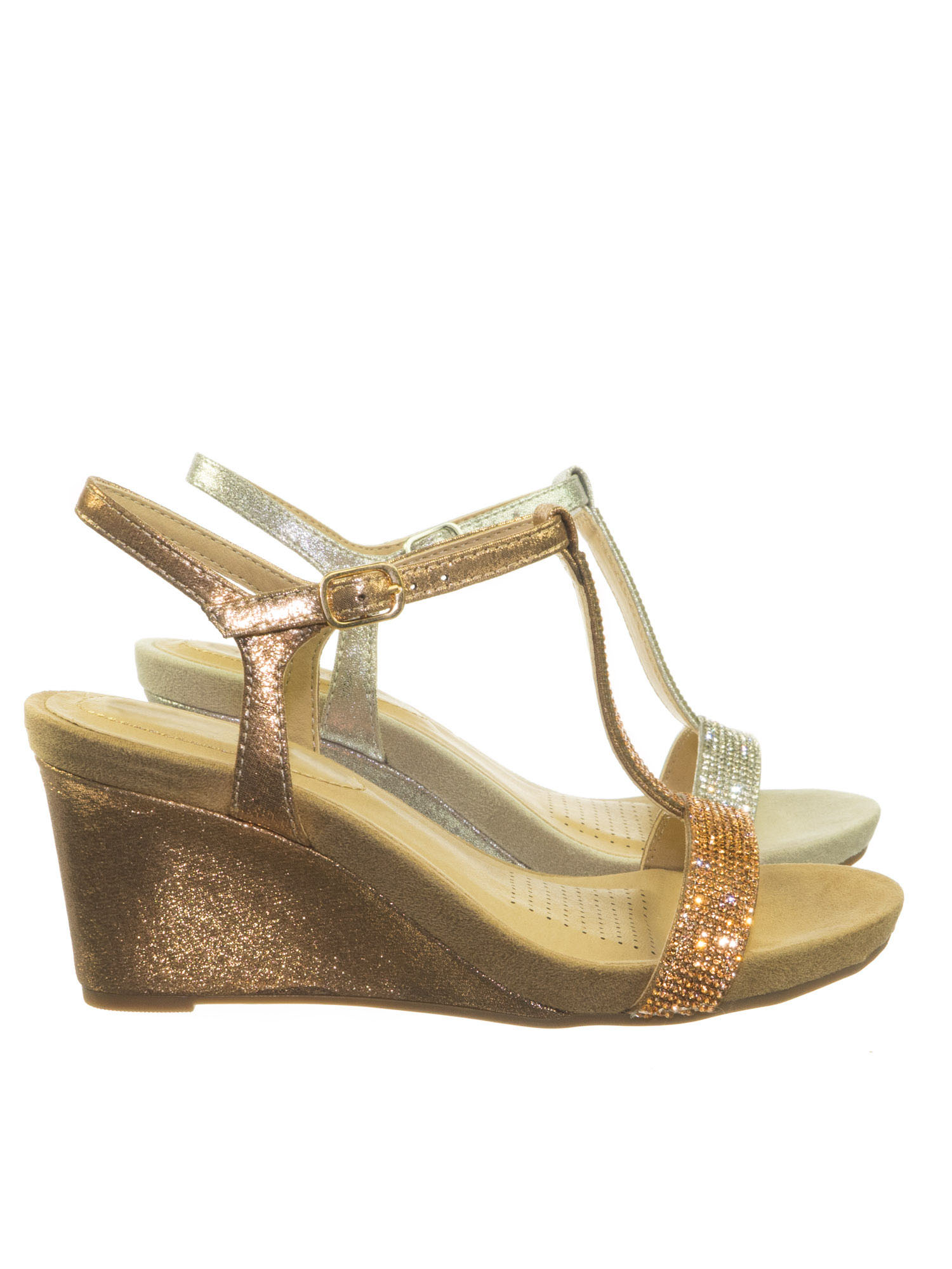 Maddox by City Classified, Comfort Foam Padded Wedge Rhinestone Crystal T-Strap Metallic Sandal